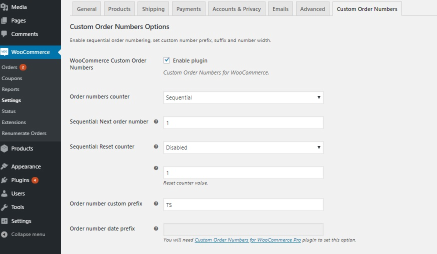 how WooCommerce order numbers are generated - Custom Order Numbers for WooCommerce Plugin Screenshot