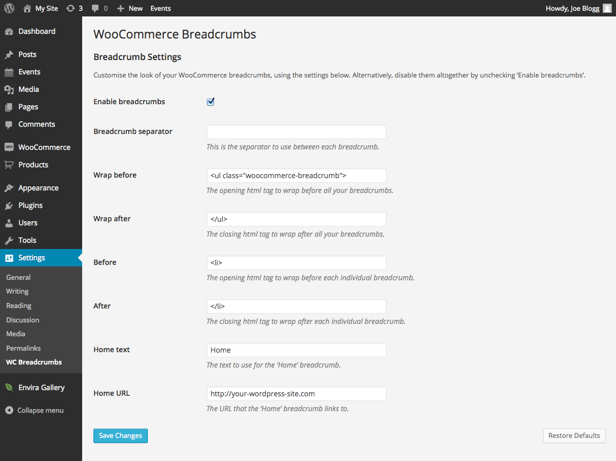 change the shop name and URL in WooCommerce breadcrumbs -Plugin Screenshot