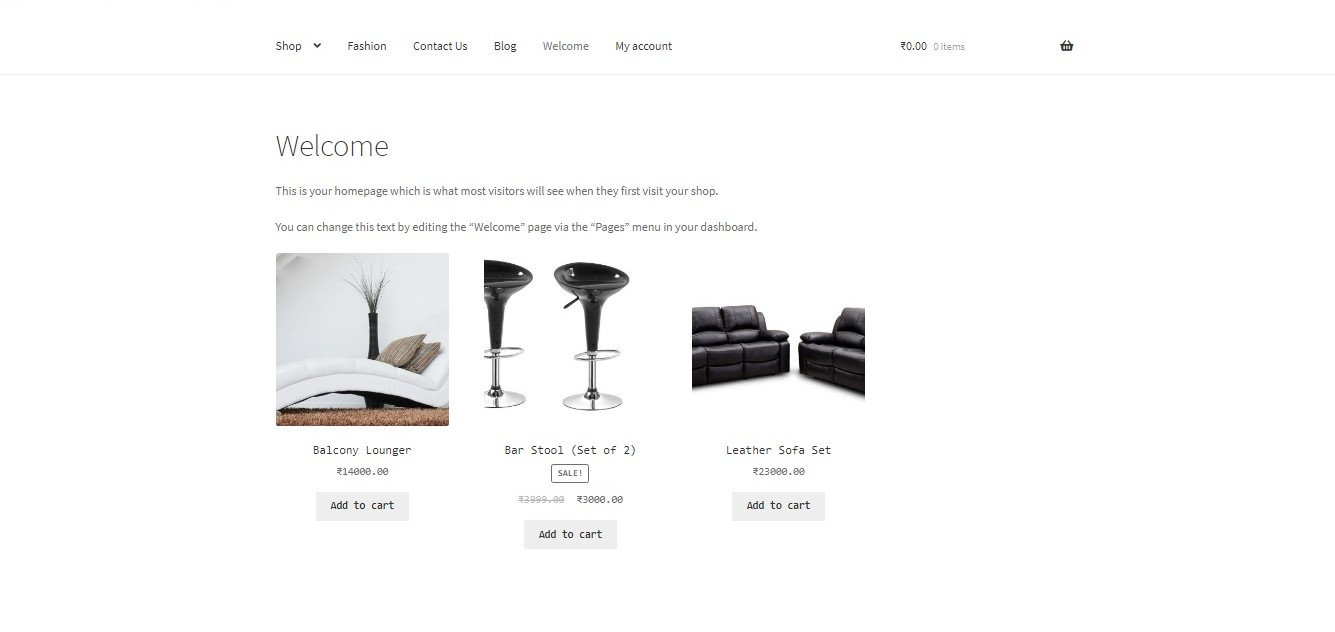 show WooCommerce categories on the homepage - Products from the furniture category displayed