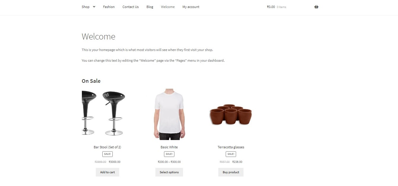 show WooCommerce categories on the homepage - On Sale items displayed