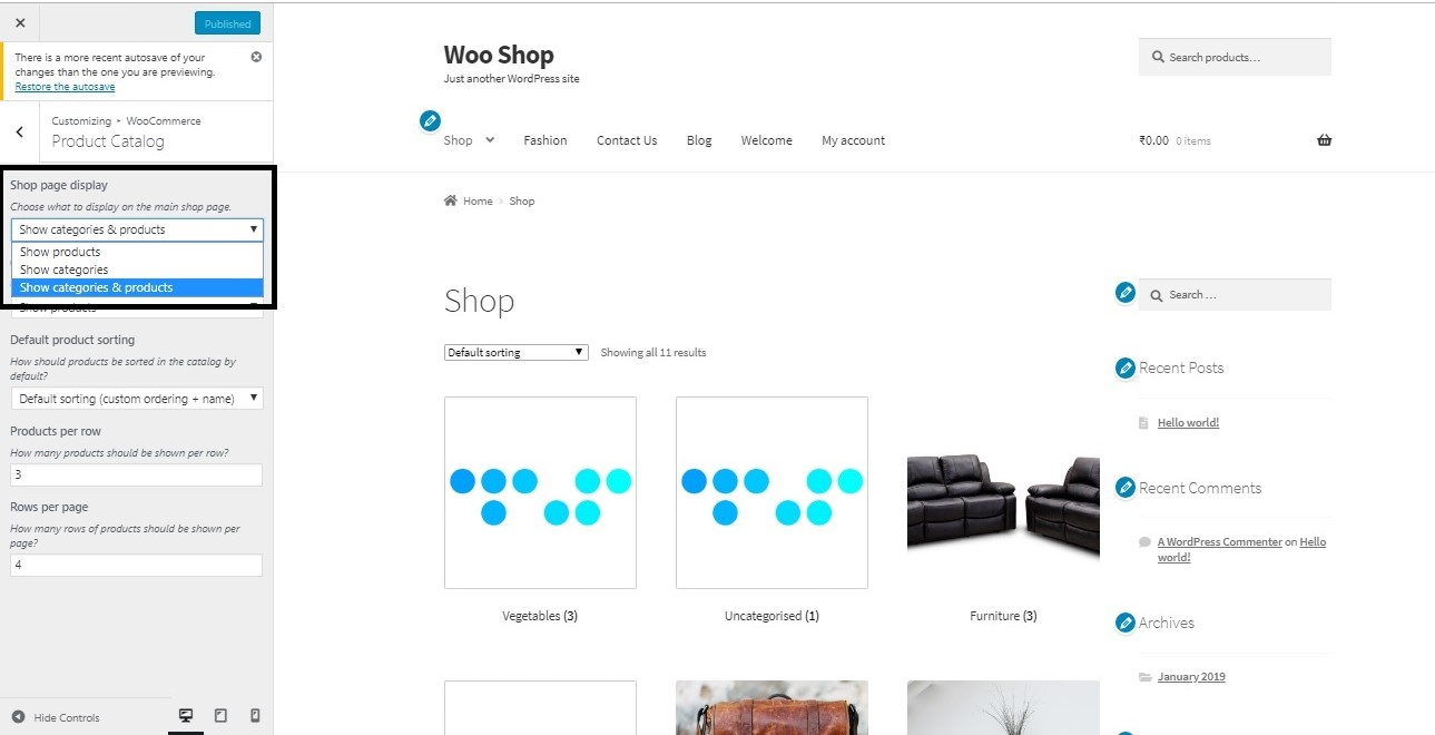 How to hide a WooCommerce product category on the Shop Page - How to display Categories & Products on the Shop Page