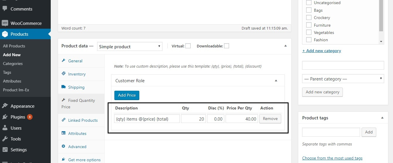 restrict the quantity field to selected numbers in WooCommerce - Adding a fixed quantity