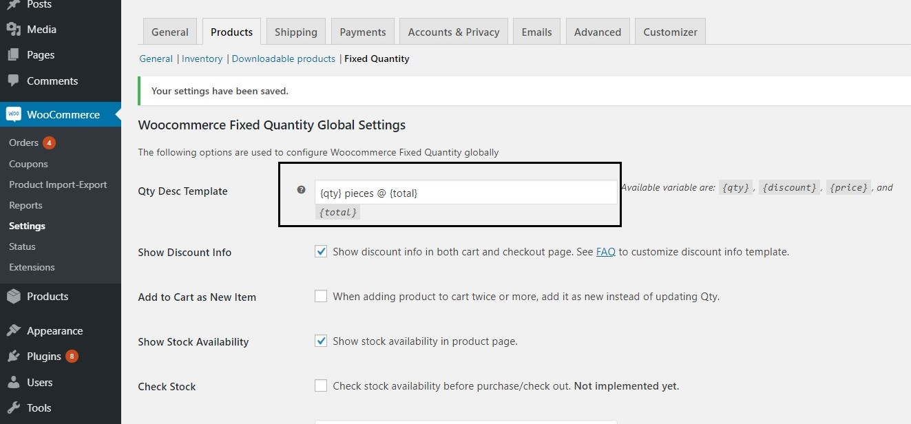 restrict the quantity field to selected numbers in WooCommerce - Editing the Description template under Plugin Settings