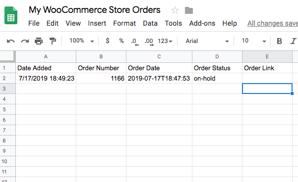 Google sheet with WooCommerce orders