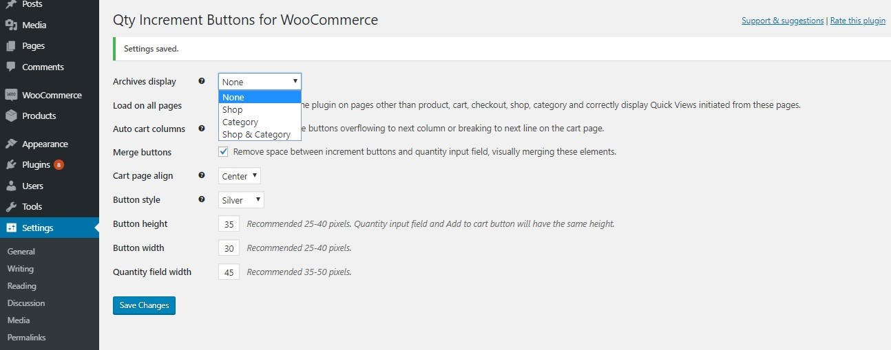 add plus + and minus - buttons to the quantity input on the product page in WooCommerce using code snippets and plugins - Choosing whether to display quantity buttons on Shop and Category pages using this plugin
