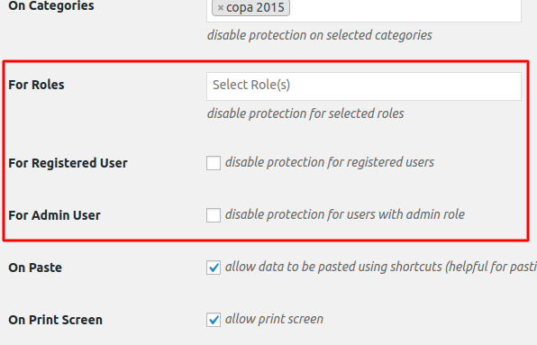 Disable protection for certain roles and allow copy tools to function for few users. gif
