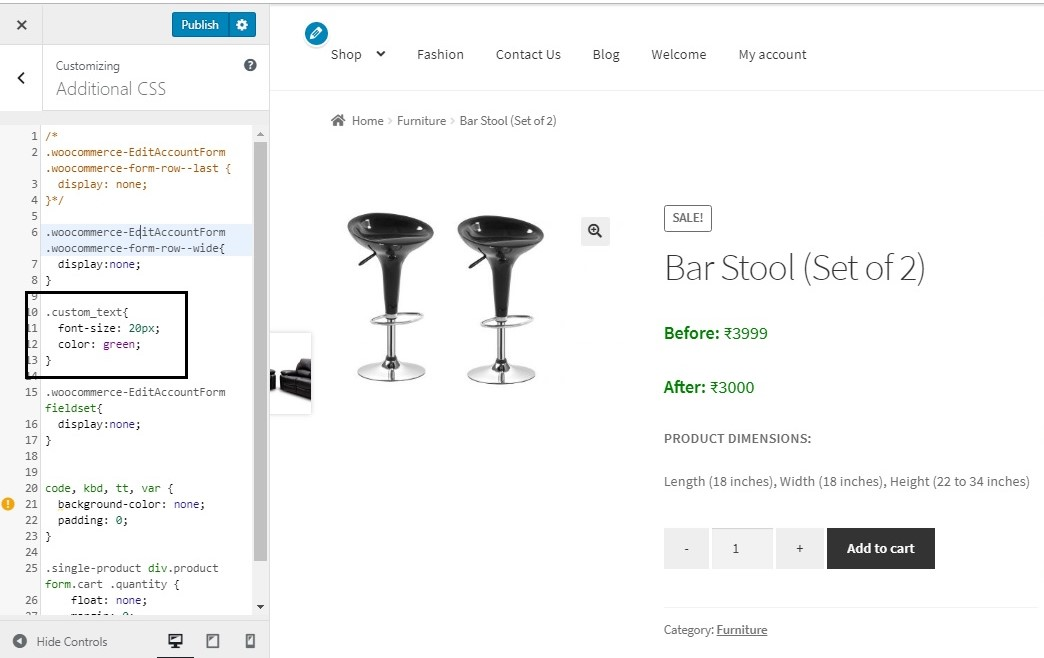 display Before and After prices for products on sale in WooCommerce - adding CSS styles to Before and After prices