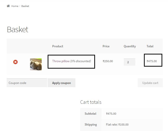 offer discounts based on quantity in WooCommerce - Updated Cart contents