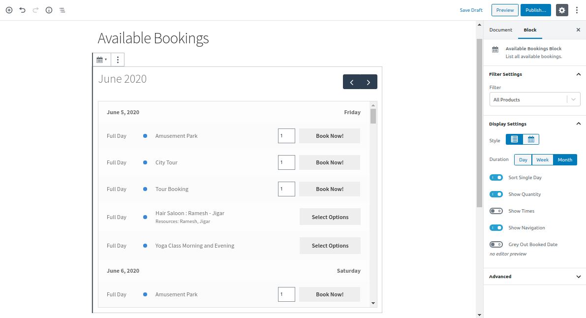 Appearance of Available Bookings Block to Page