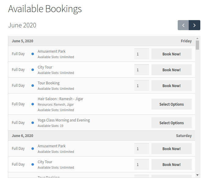 Available Bookings Block Front End View