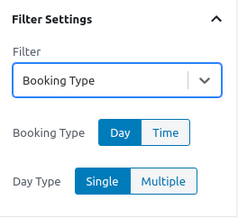 Booking Types Filter - Filters Settings