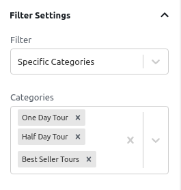 Specific Categories Filter - Filter Settings