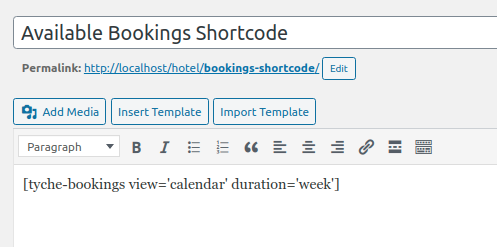Shortcode for Available Bookings