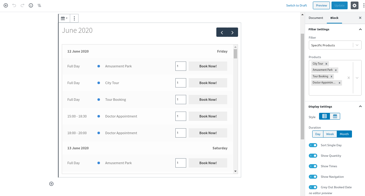 Available Booking Block Backend View