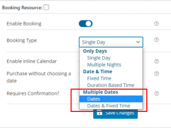 Multiple Dates Booking Types
