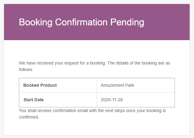 Booking Confirmation Pending
