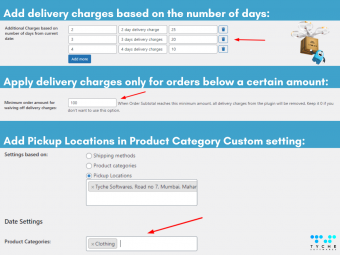 Order Delivery Date Pro for WooCommerce v9.25.0 update- apply delivery charges for order below a certain amount & more | tychesoftwares.com